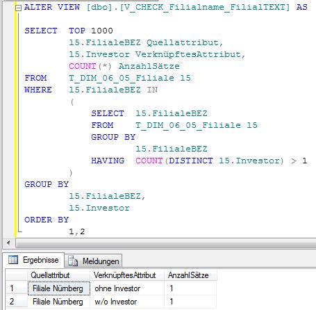 SQL-Prüfung für Attribut Filialname