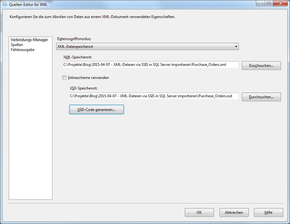 Quellen-Editor für XML – Verbindungs-Manager
