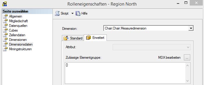 """Rolle """"Region North"""", Attributsicherheit auf der """"Measuredimension"""""""