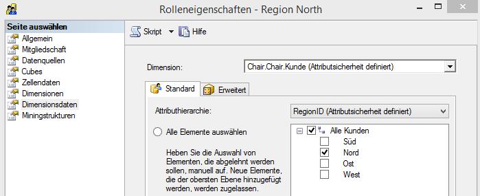 """Rolle """"Region North"""", Attributsicherheit auf Regionen"""