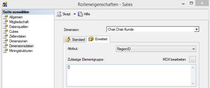 """Rolle """"Sales"""", Attributsicherheit auf Regionen"""