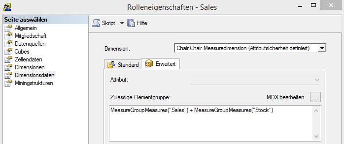 """Rolle """"Sales"""", Attributsicherheit auf der """"Measuredimension"""""""