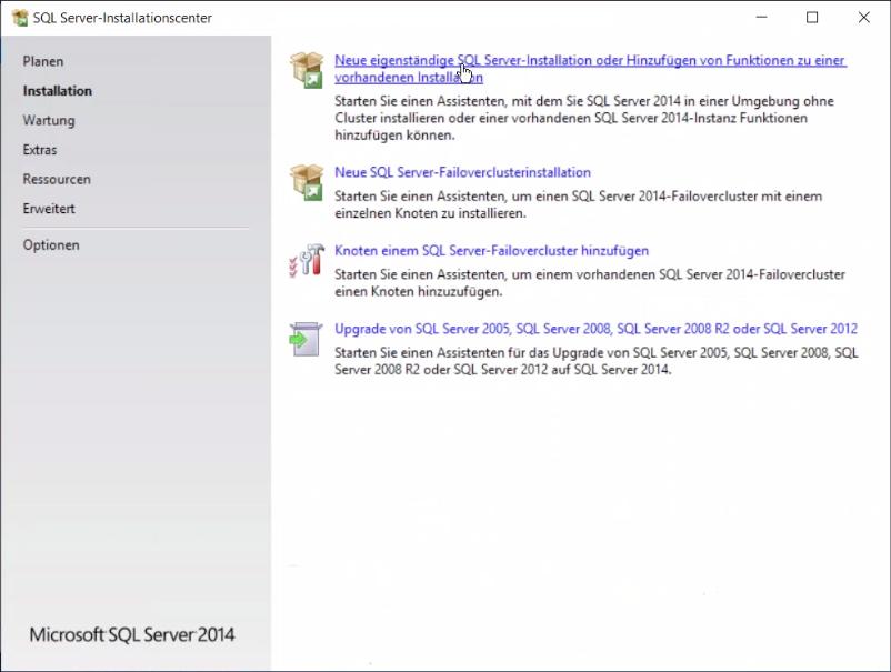 Abbildung 2 SQL Server Installationscenter