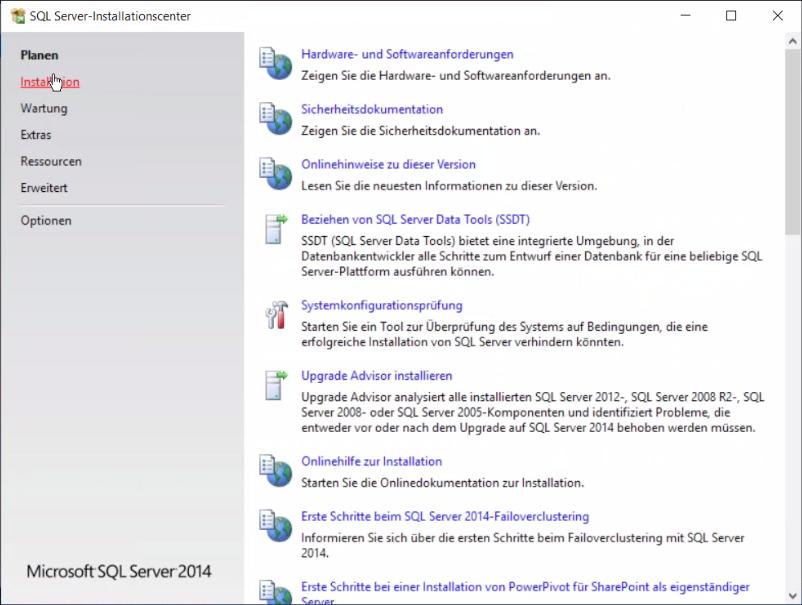Abbildung 1 SQL Server Installationsdialog