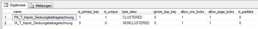 Abbildung 6 Ermitteln der Indexinformationen einer Tabelle