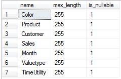 Abbildung 3 Ermitteln der Spalten vom Typ varchar der Tabelle T_Import_Deckungsbeitragsrechnung