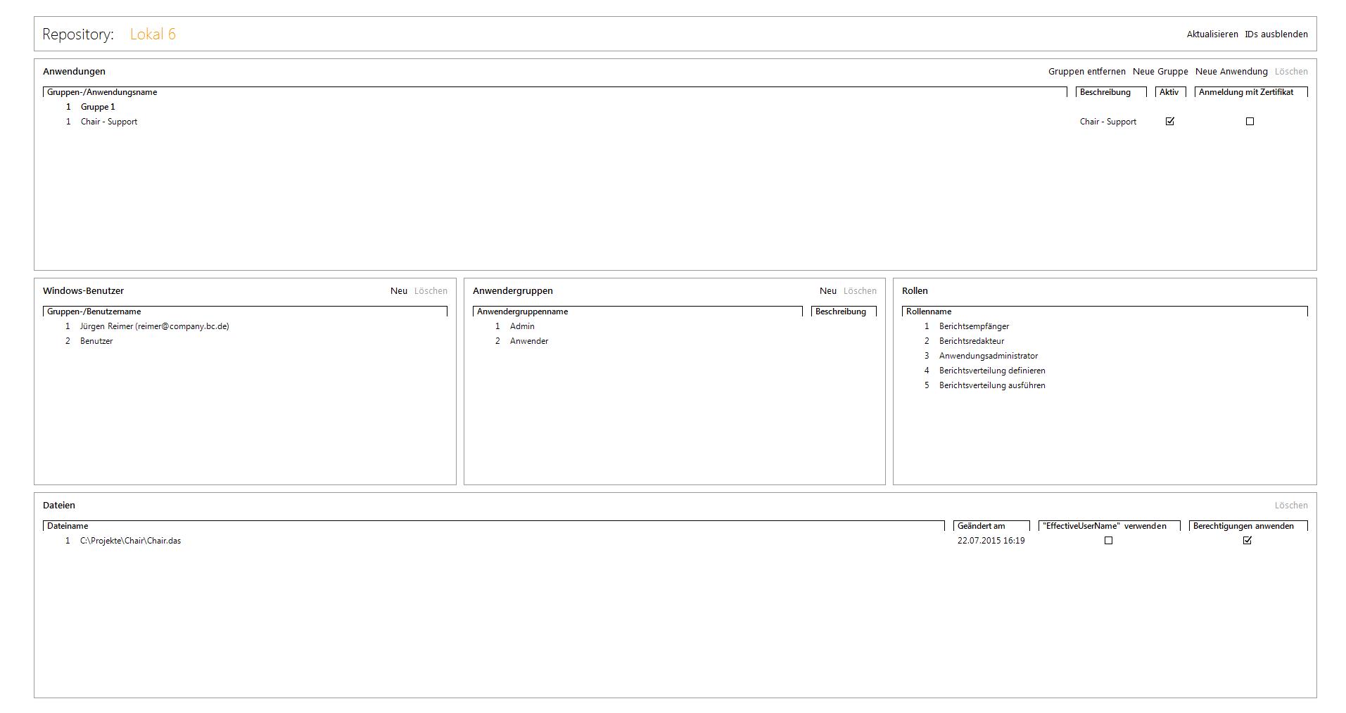Abbildung 1 Oberfläche Repository Rollenverwaltung