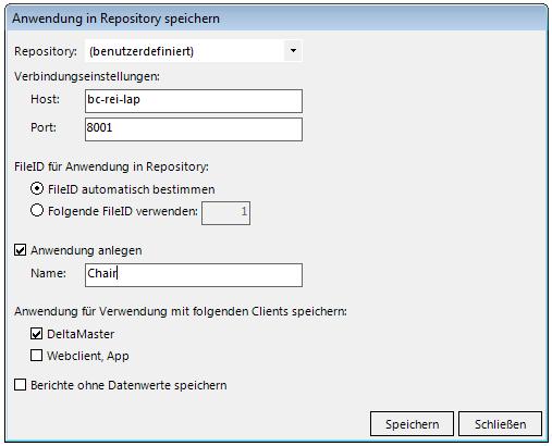 Abbildung 5 Speicherdialog Repository