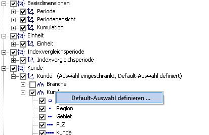 Abbildung 9 Default-Auswahl definieren
