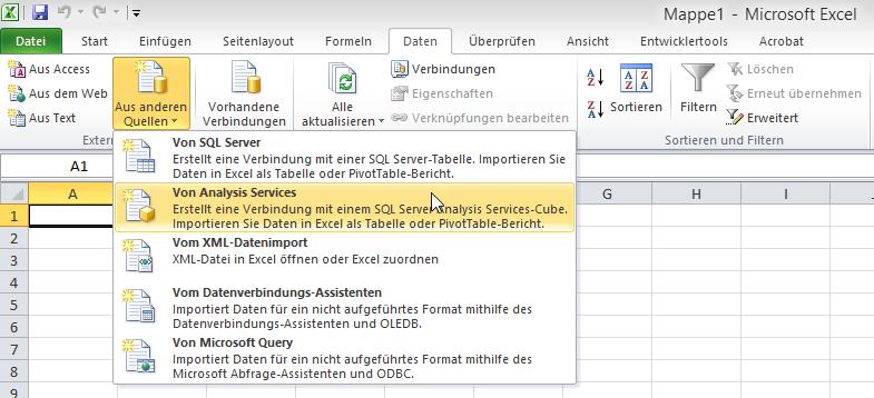Abruf externer Daten aus MSAS in Excel