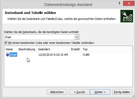 Datenbank-Cubeauswahl