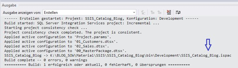 Ausgabefenster Erstellung ISPAC-Datei