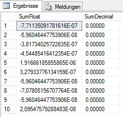 Abbildung 5 Ergebnis der Aggregation von float im Vergleich zu decimal
