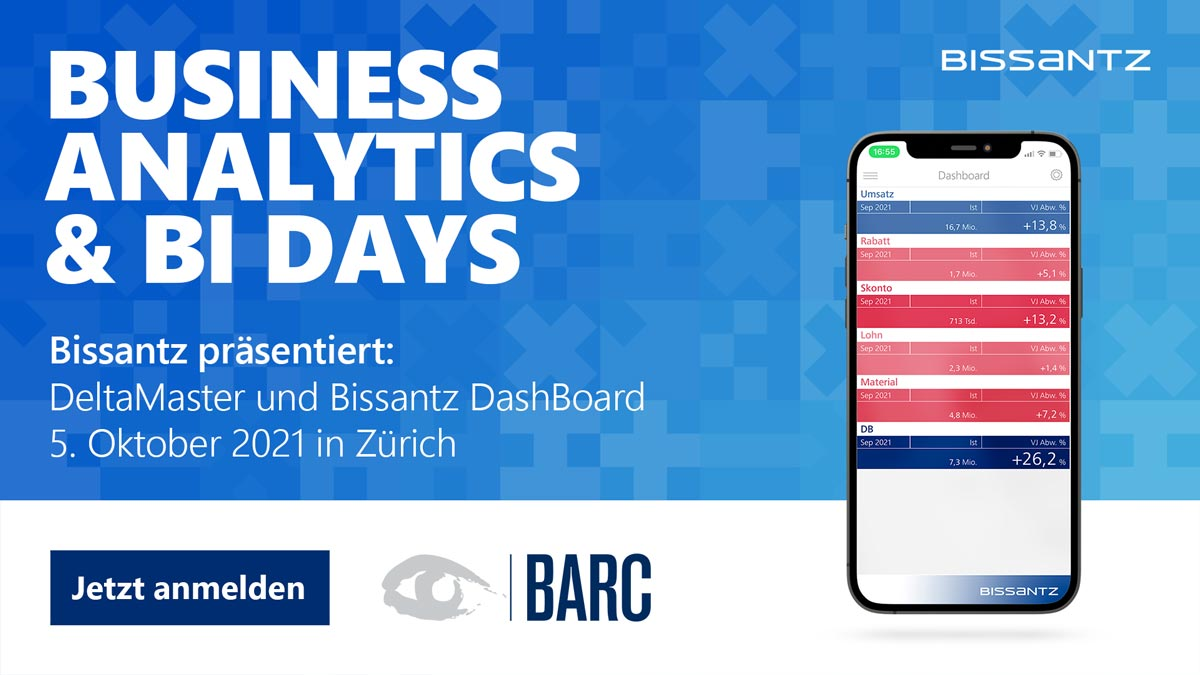 Business Analytics & BI Days am 5. Oktober 2021 in Zürich - Bissantz & Company ist live vor Ort