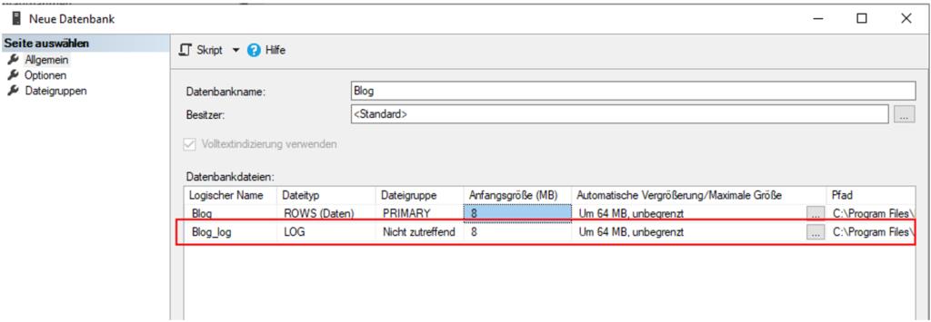 SQL-Server-Transaktionsprotokoll - Einrichtung einer Datenbank im Management Studio