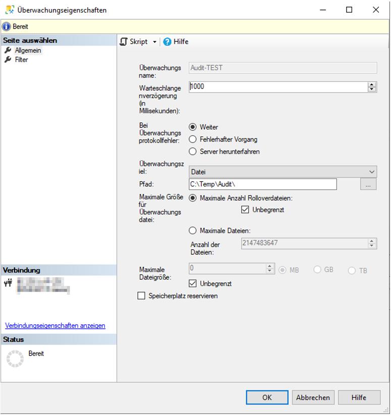 Änderungsnachverfolgung im SQL Server - Neue Überwachung auf SQL-Server-Ebene einrichten