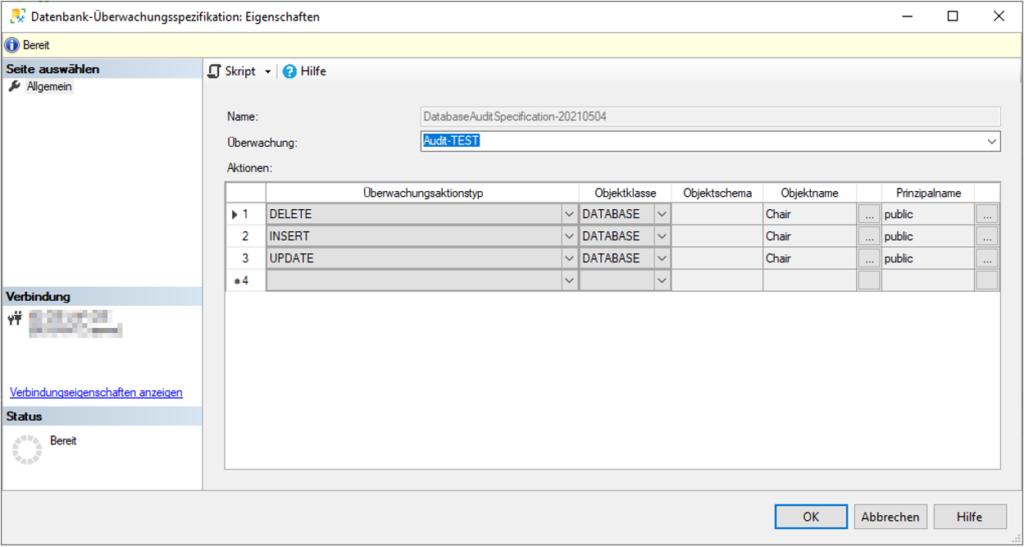 SQL Server Audit - Einrichtung einer Datenbank-Überwachungsspezifikation zur Änderungsnachverfolgung