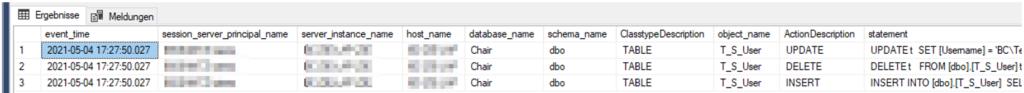 Änderungsnachverfolgung im SQL Server - Ergebnis der Abfrage des Überwachungsprotokolls