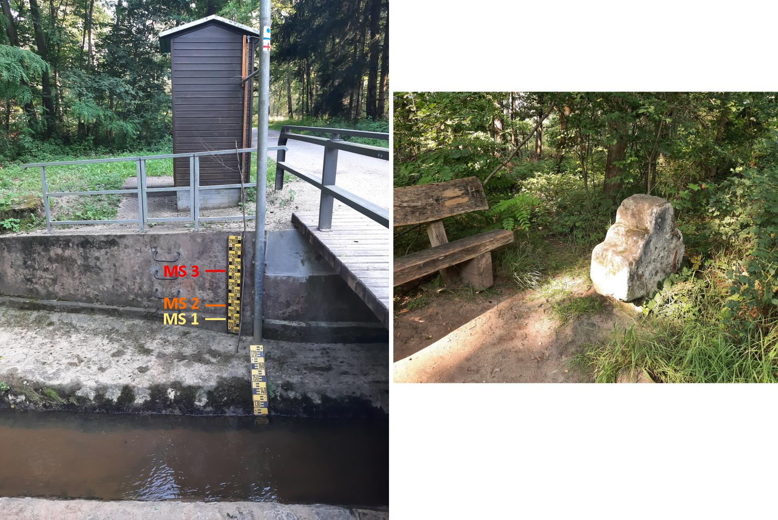 Die Messstation Frauenkreuz/Gründlach und das namensgebende Steinkreuz
