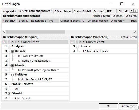 Berichtsmappengenerator mit Ordner Umsatz, aber ohne den Comparatorbericht