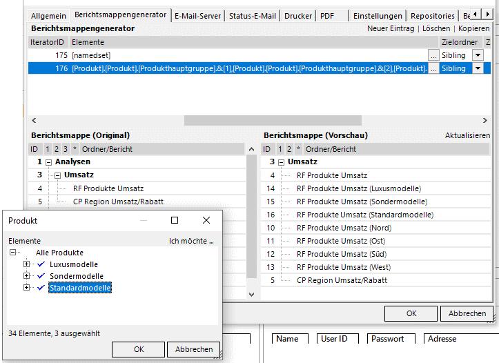 Die drei neuen Produkthauptgruppen-Berichte werden direkt hinter dem Quellbericht eingefügt