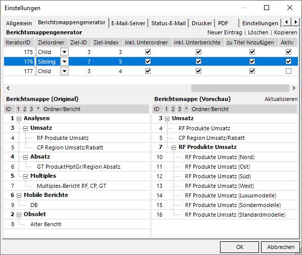 Die Produkthauptgruppen kommen zu den Berichten im Ordner 7