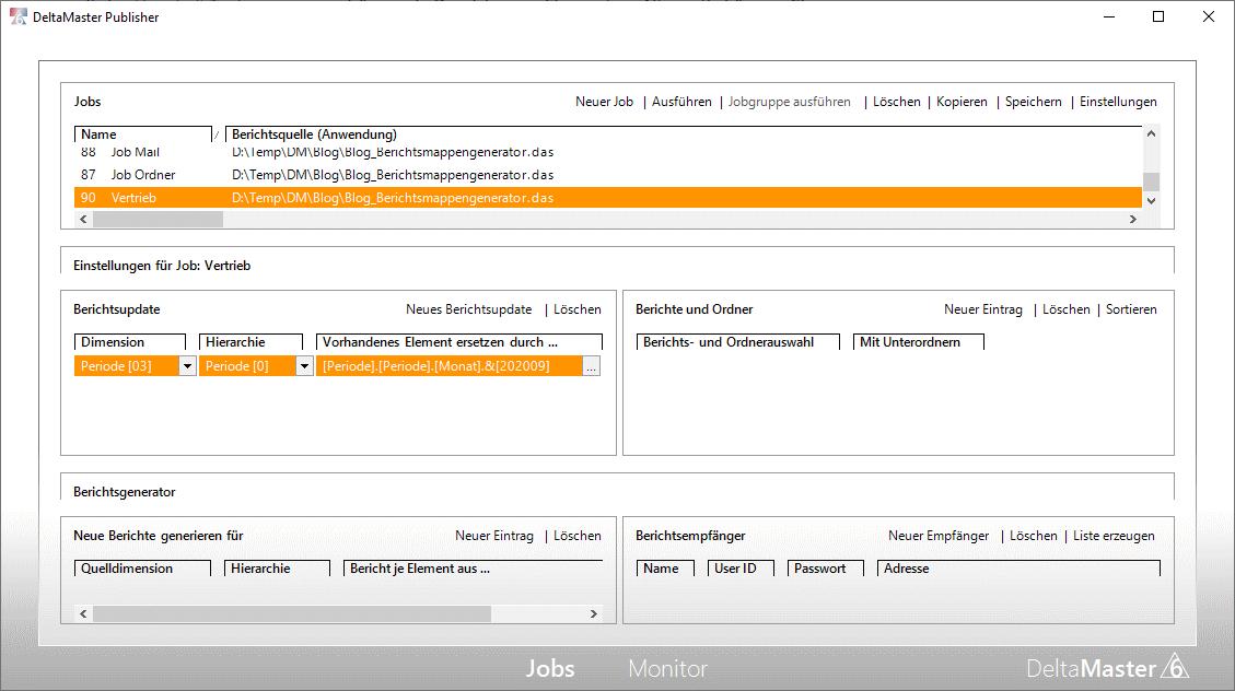 Jobdefinitionsfenster im Publisher