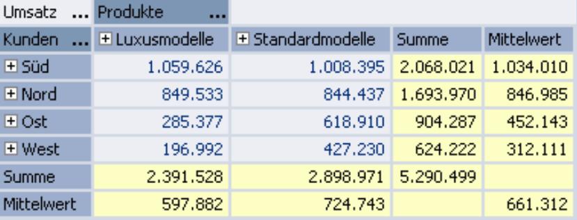 Pivottabelle mit Zeilen-, Spalten- und Tabellenaggregationen