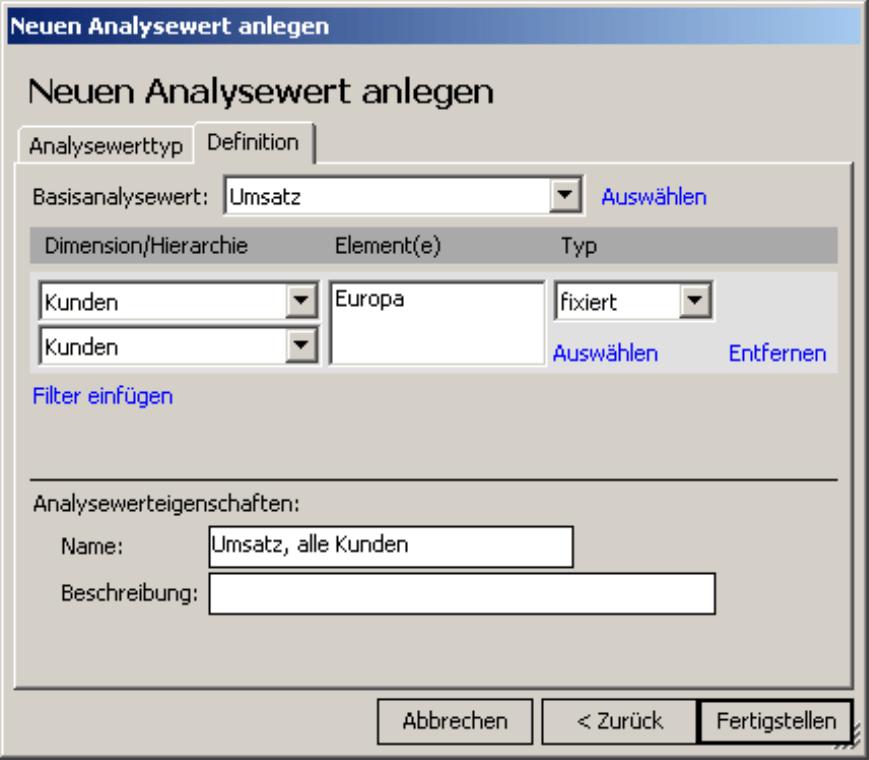 Anlegen eines neuen Analysewerts vom Typ Filter