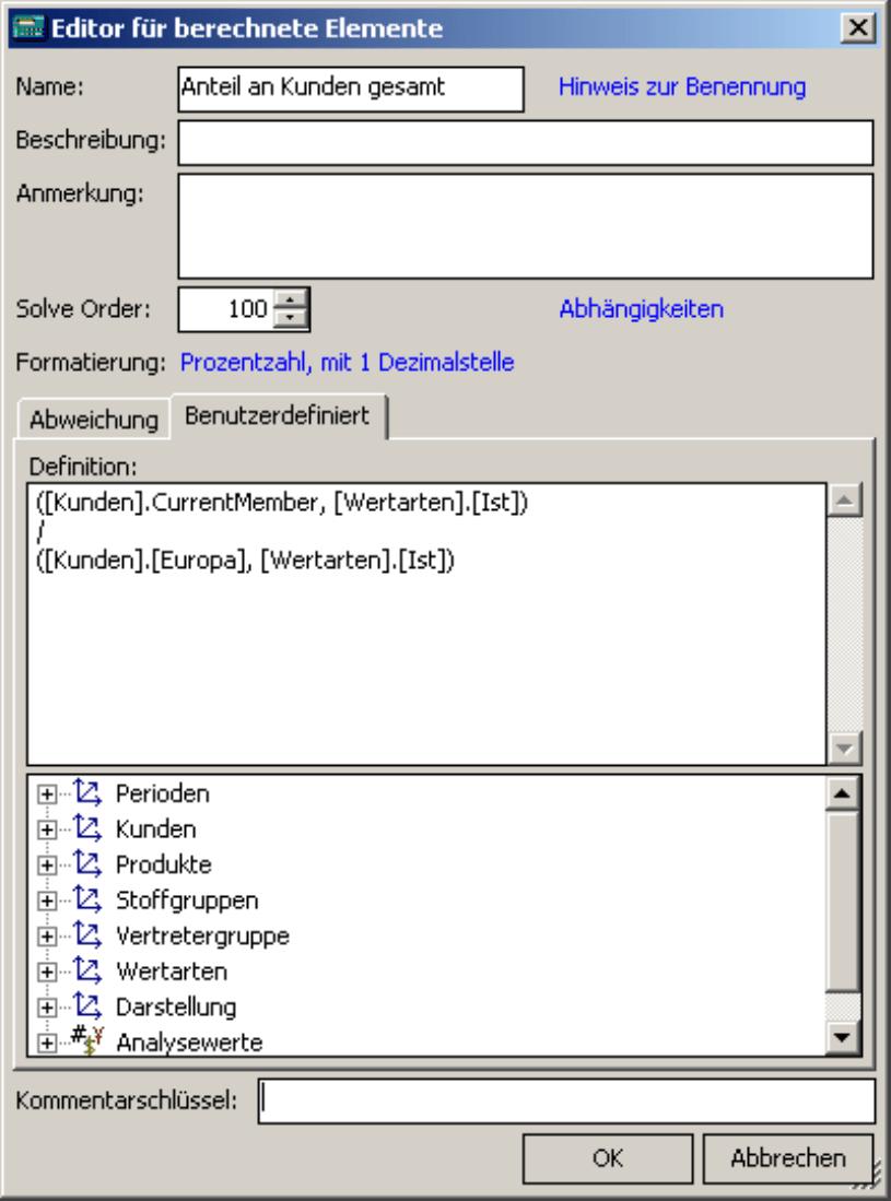 Hinzufügen eines benutzerdefinierten Elements im Editor für berechnete Elemente