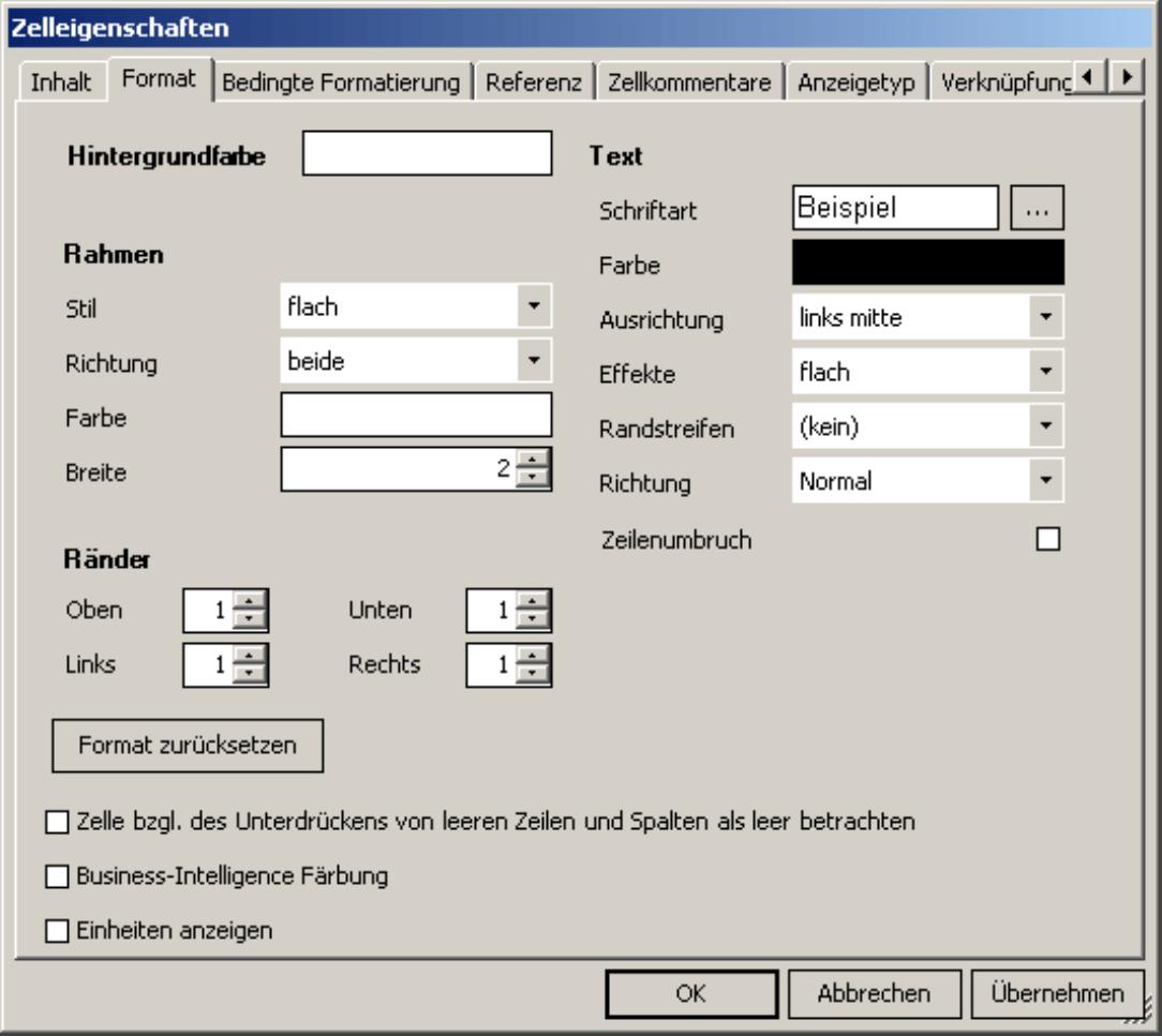Spezifizierung der Hintergrundfarbe, des Rahmen, der Rände und des Text auf der Registerkarte Format in den Zelleigenschaften