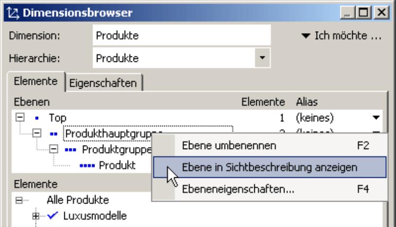 Anzeigen oder Ausblenden der Ebene in Sichtbeschreibung auf der Registerkarte Elemente im Dimensionsbrowser