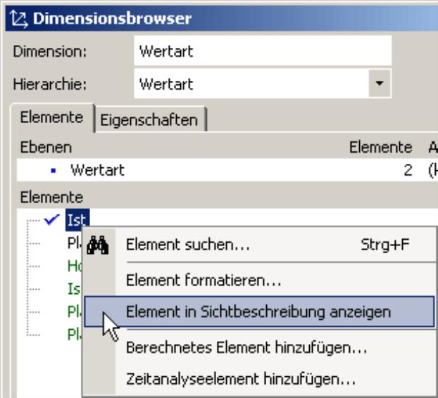 Anzeigen oder Ausblenden der Elemente in Sichtbeschreibung auf der Registerkarte Elemente im Dimensionsbrowser