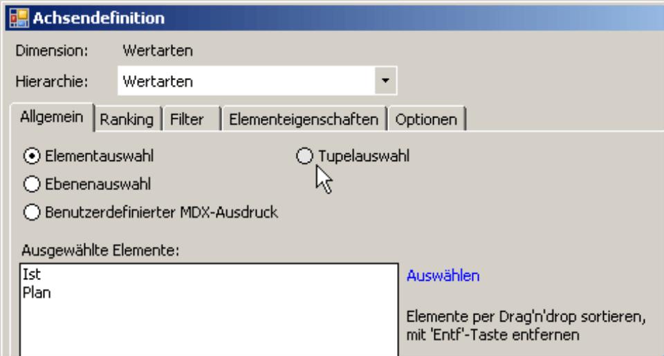 Klicken der Tupelauswahl auf der Registerkarte Allgemein