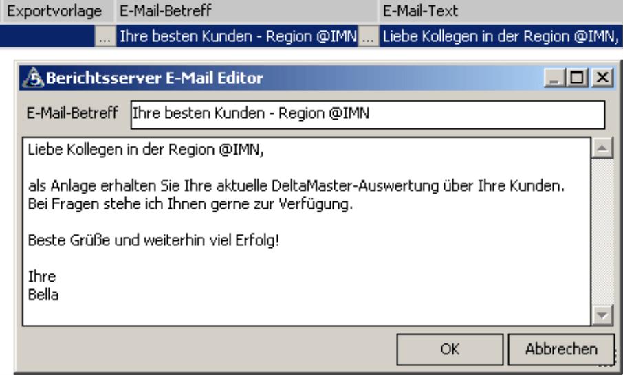 Bearbeiten des E-Mail-Betreff und E-Mail-Text im Berichtsserver E-Mail Editor