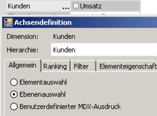 Elementauswahl, Ebenenauswahl, Benutzerdefinierter MDX-Ausdruck oder Tupelauswahl auf der Registerkarte Allgemein in der Achsendefinition