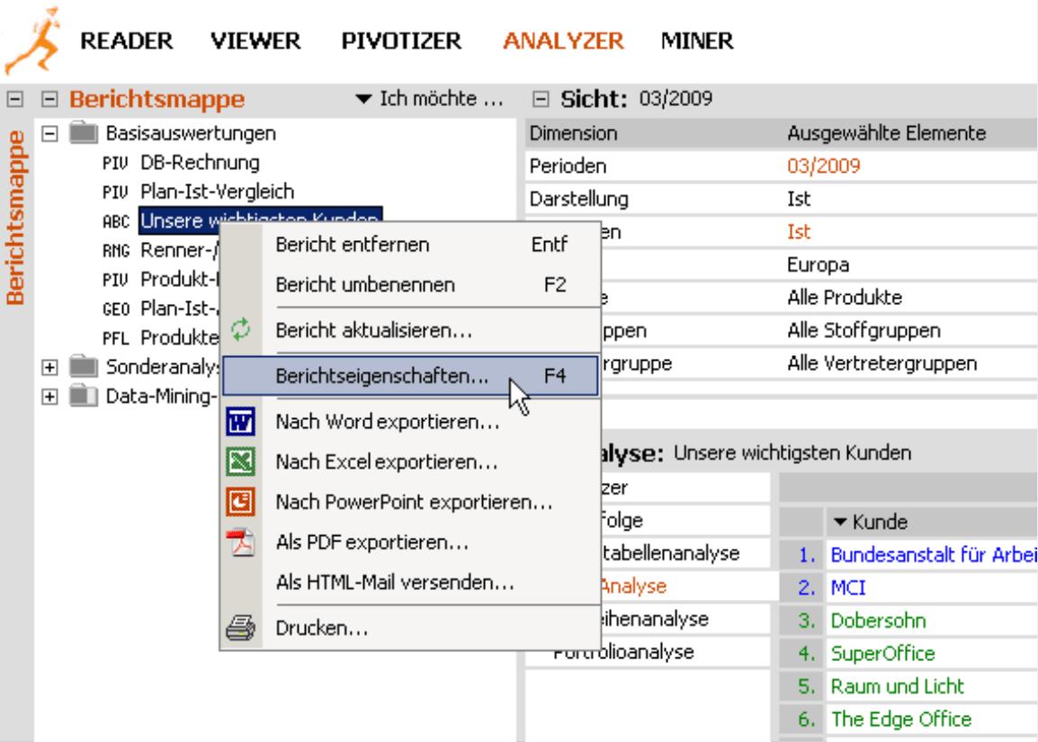 Auswahl einer Dimension für den Modus Viewer in den Berichtseigenschaften des Modus Analyzer