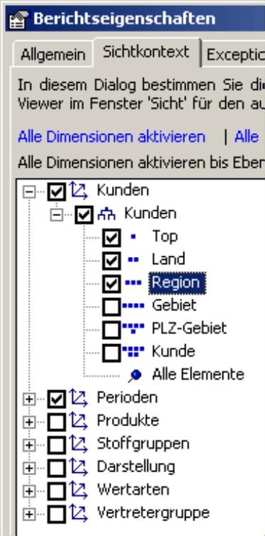 Bestimmung der im Modus Viewer sichtbaren Dimensionen auf der Registerkarte Sichtkontext, hier: Kunden mit der Differenzierung Top, Land und Region und Perioden