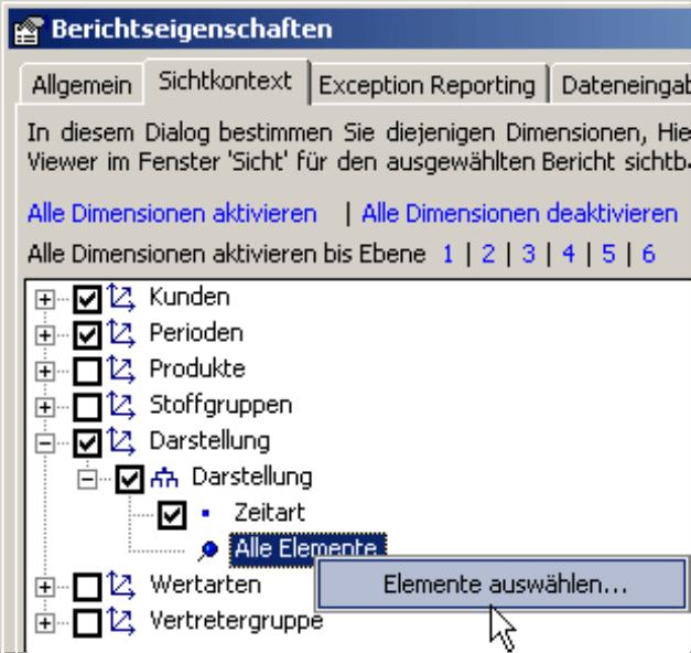 Elemente für den Viewer auswählen auf der Registerkarte Sichtkontext