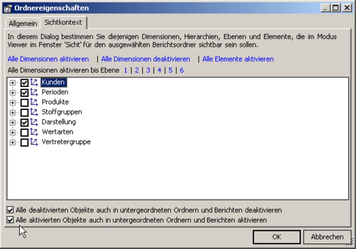 Einstellungen für deaktivierte bzw. aktivierte Objekte auch in untergeordneten Ordnern und Berichten deaktivieren bzw. aktivieren auf der Registerkarte Sichtkontext