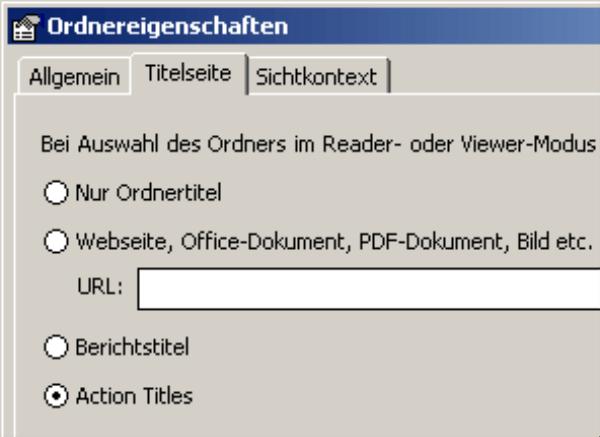 Auswahl Action Title auf der Registerkarte Titelseite in den Ordnereigenschaften
