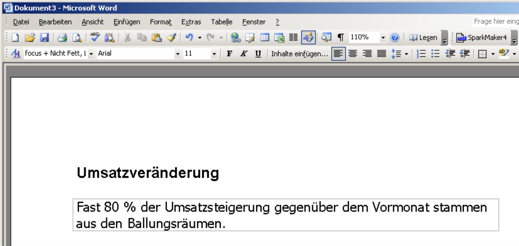 Ansicht des Action Title in Microsoft Word