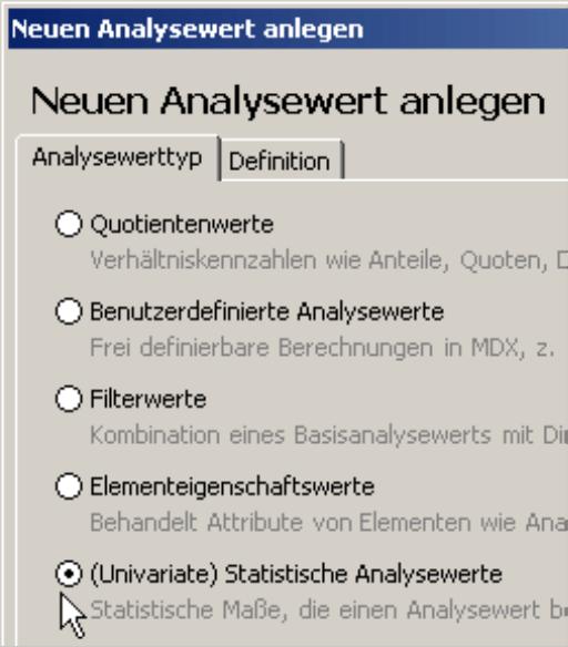 Selektion der (Univariate) Statistischen Analysewerte auf der Registerkarte Analysewerttyp
