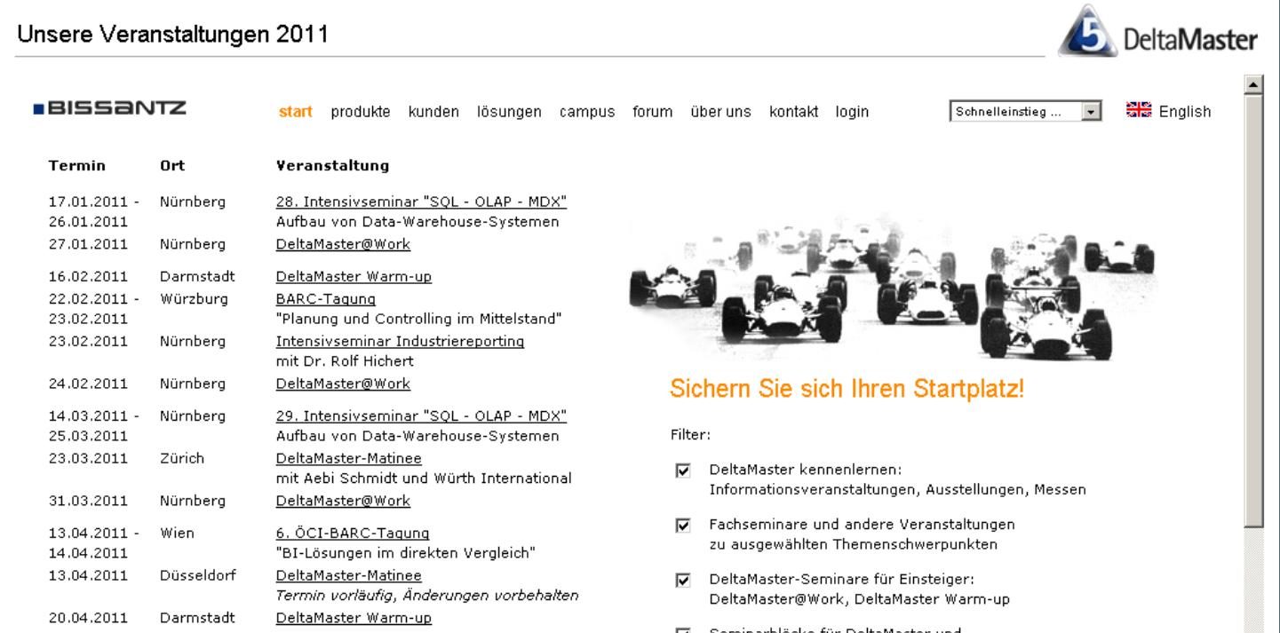 Internetseite in einer automatischen Präsentation