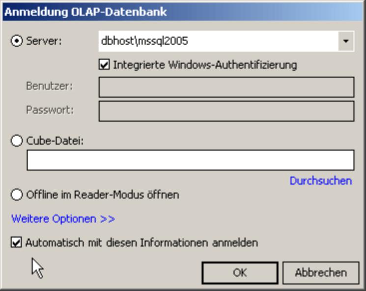 Aktivierung der automatischen Datenbankanmeldung