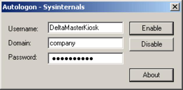 Abfrage des Benutzernamen, der Domain und des Passwortes mit dem Tool Autologon