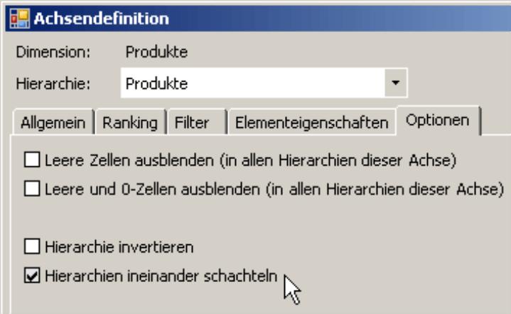 Kontrollkästchen für Hierarchien ineinander schachteln auf der Registerkarte Optionen in der Achsendefinition