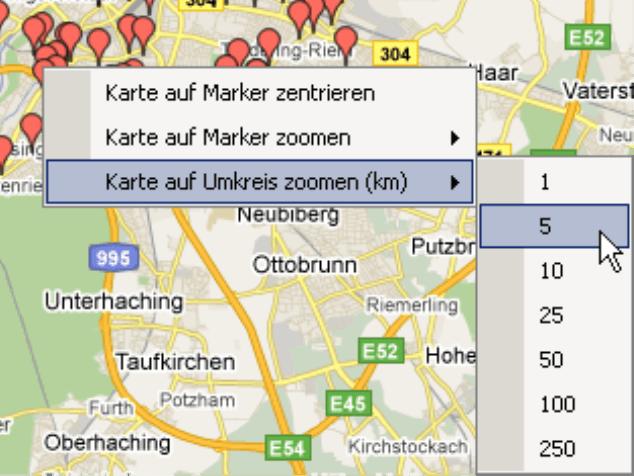 Karte auf Marker zentrieren, Karte auf Marker zoomen oder Karte auf Umkreis zoomen
