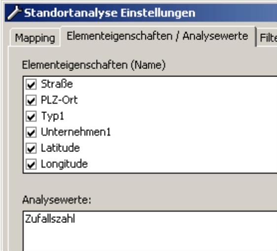 Auswahl der Elementeigenschaften auf der Registerkarte Elementeigenschaften/Analysewert im Modus Miner in den Einstellungen der Standortanalyse