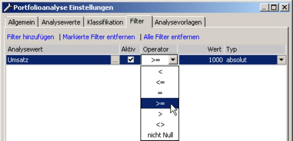Hinzufügen und Entfernen der Filter auf der Registerkarte Filter